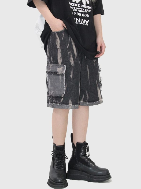 Unisex Frayed Shorts With Pockets 4 - My Sweet Outfit - EGirl Outfits - Soft Girl Clothes Aesthetic