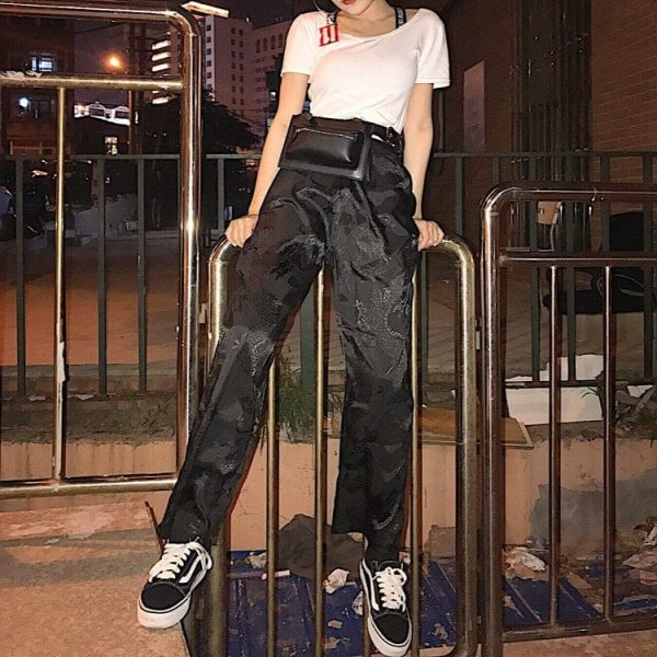 Vintage Dragon Print Straight Pants 3 - My Sweet Outfit - EGirl Outfits - Soft Girl Clothes Aesthetic
