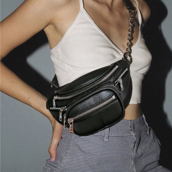 Waist Messenger Bag With Chain 2 - My Sweet Outfit - EGirl Outfits - Soft Girl Clothes Aesthetic