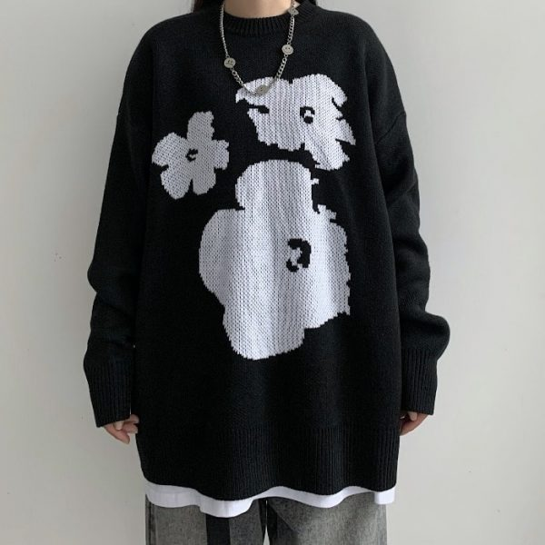 Warm Loose Knitted Flower Sweater 1 - My Sweet Outfit - EGirl Outfits - Soft Girl Clothes Aesthetic - Grunge Fashion Tumblr Hip Emo Rap Trap