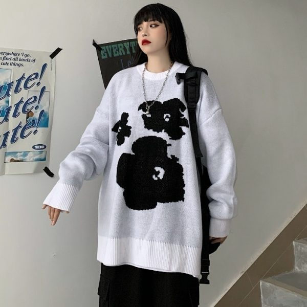 Warm Loose Knitted Flower Sweater 2 - My Sweet Outfit - EGirl Outfits - Soft Girl Clothes Aesthetic - Grunge Fashion Tumblr Hip Emo Rap Trap