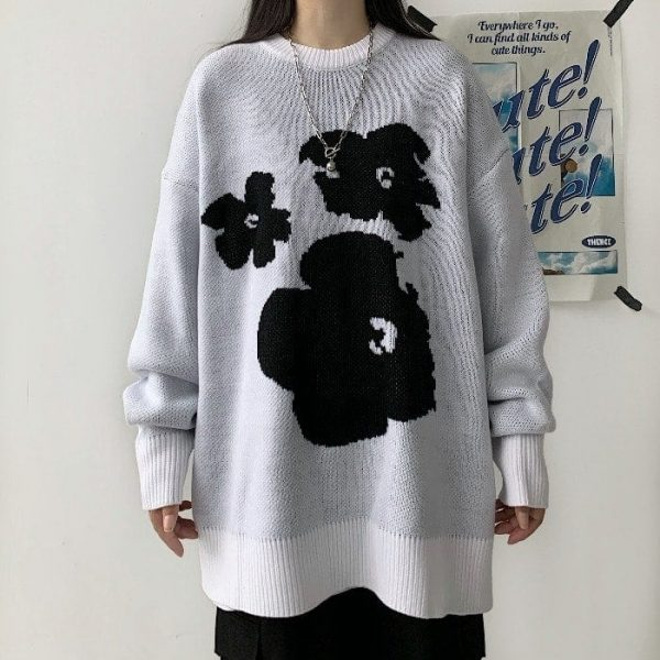 Warm Loose Knitted Flower Sweater 3 - My Sweet Outfit - EGirl Outfits - Soft Girl Clothes Aesthetic - Grunge Fashion Tumblr Hip Emo Rap Trap