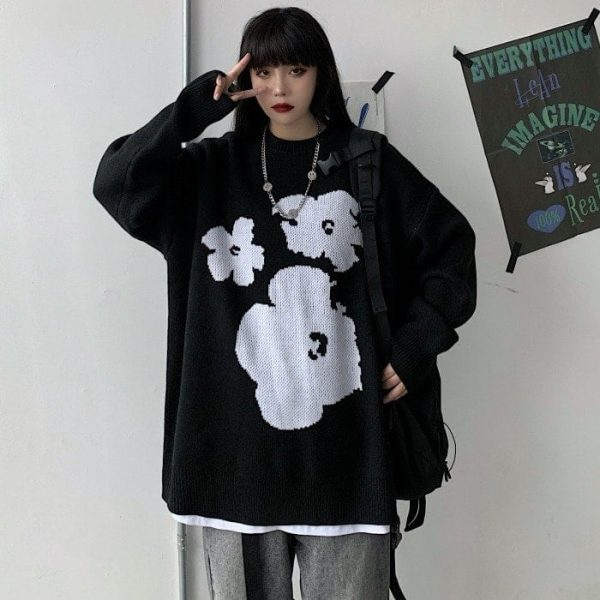 Warm Loose Knitted Flower Sweater 4 - My Sweet Outfit - EGirl Outfits - Soft Girl Clothes Aesthetic - Grunge Fashion Tumblr Hip Emo Rap Trap