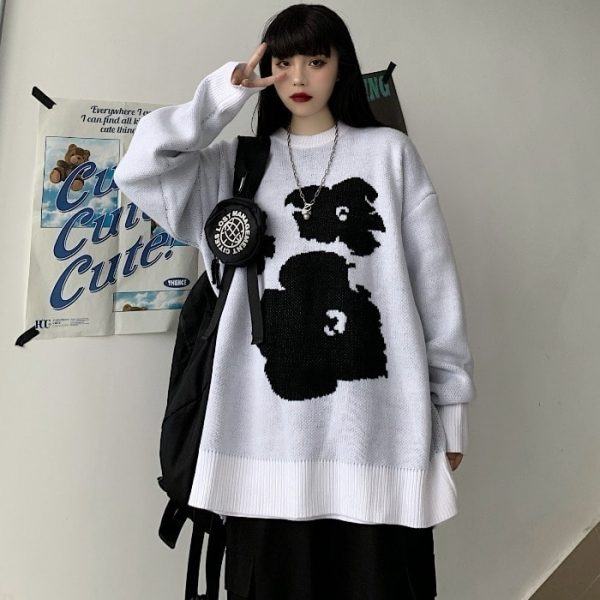 Warm Loose Knitted Flower Sweater 5 - My Sweet Outfit - EGirl Outfits - Soft Girl Clothes Aesthetic - Grunge Fashion Tumblr Hip Emo Rap Trap