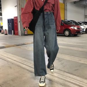 Washed Out Wide Leg Jeans 2 - My Sweet Outfit - EGirl Outfits - Soft Girl Clothes Aesthetic - Grunge Fashion Tumblr Hip Emo Rap Trap