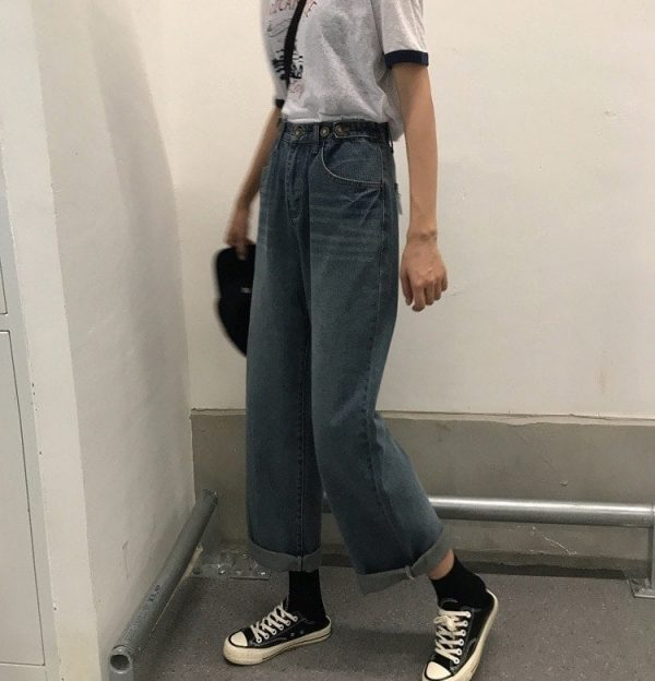 Washed Out Wide Leg Jeans 4 - My Sweet Outfit - EGirl Outfits - Soft Girl Clothes Aesthetic - Grunge Fashion Tumblr Hip Emo Rap Trap