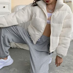 White Retro Short Cotton Padded Jacket 2 - My Sweet Outfit - EGirl Outfits - Soft Girl Clothes Aesthetic - Grunge Fashion Grime Hip Emo Rap Trap