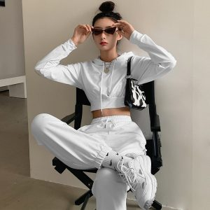White Slim Fitness Sport Suit 1 - My Sweet Outfit - EGirl Outfits - Soft Girl Clothes Aesthetic