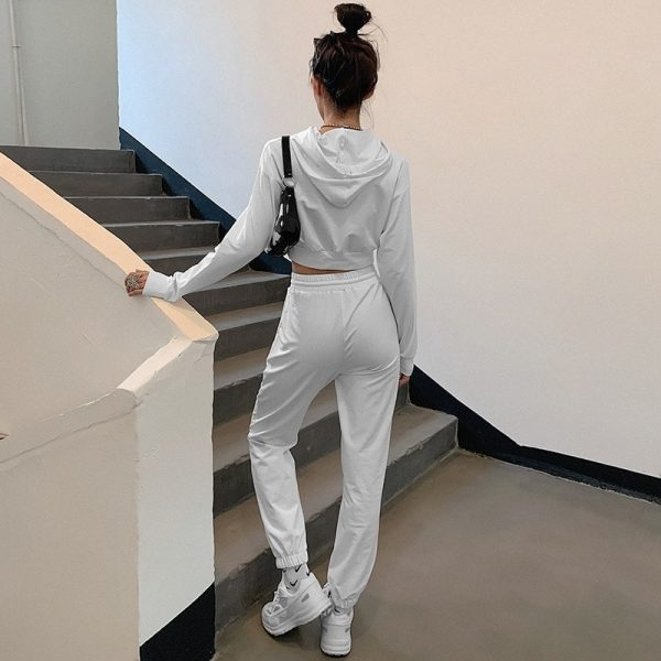 White Slim Fitness Sport Suit 3 - My Sweet Outfit - EGirl Outfits - Soft Girl Clothes Aesthetic