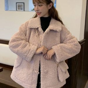 Winter Cotton Padded Wool Coat With Purse 1 - My Sweet Outfit - EGirl Outfits - Soft Girl Clothes Aesthetic - Grunge Fashion Tumblr Hip Emo Rap Trap