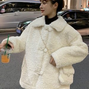 Winter Cotton Padded Wool Coat With Purse 2 - My Sweet Outfit - EGirl Outfits - Soft Girl Clothes Aesthetic - Grunge Fashion Tumblr Hip Emo Rap Trap