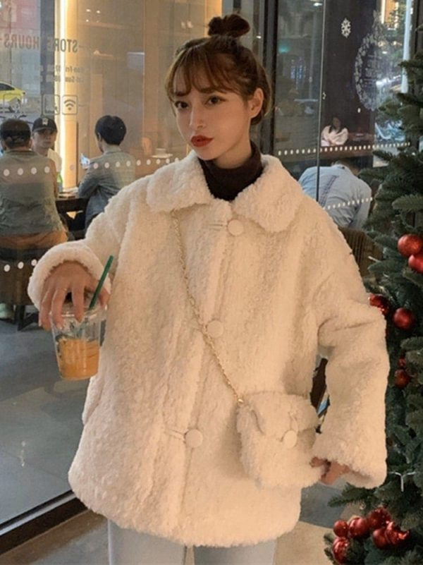 Winter Cotton Padded Wool Coat With Purse 3 - My Sweet Outfit - EGirl Outfits - Soft Girl Clothes Aesthetic - Grunge Fashion Tumblr Hip Emo Rap Trap