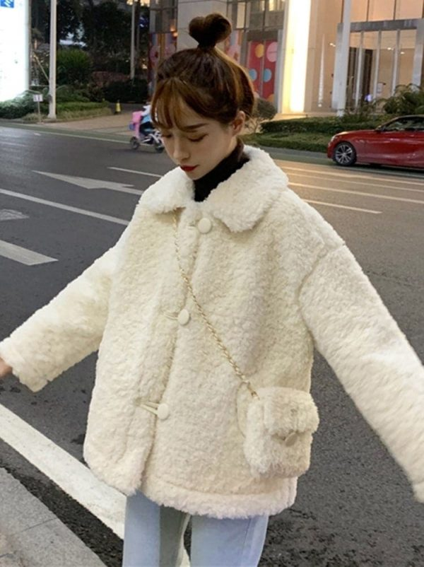 Winter Cotton Padded Wool Coat With Purse 4 - My Sweet Outfit - EGirl Outfits - Soft Girl Clothes Aesthetic - Grunge Fashion Tumblr Hip Emo Rap Trap