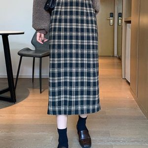 Wool Mid Length Autumn Skirt 1 - My Sweet Outfit - EGirl Outfits - Soft Girl Clothes Aesthetic - Grunge Fashion Tumblr Hip Emo Rap Trap