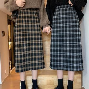 Wool Mid Length Autumn Skirt 4 - My Sweet Outfit - EGirl Outfits - Soft Girl Clothes Aesthetic - Grunge Fashion Tumblr Hip Emo Rap Trap