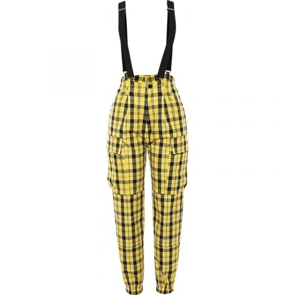 Yellow High Waist Plaid Suspenders Pants 4 - My Sweet Outfit - EGirl Outfits - Soft Girl Clothes Aesthetic - Grunge Fashion Grime Hip Emo Rap Trap