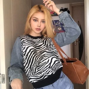 Zebra Pattern Sweater With Denim Sleeves 1 - My Sweet Outfit - EGirl Outfits - Soft Girl Clothes Aesthetic - Grunge Fashion Tumblr Hip Emo Rap Trap (1)