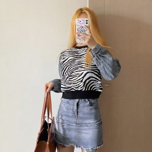Zebra Pattern Sweater With Denim Sleeves 1 - My Sweet Outfit - EGirl Outfits - Soft Girl Clothes Aesthetic - Grunge Fashion Tumblr Hip Emo Rap Trap (3)