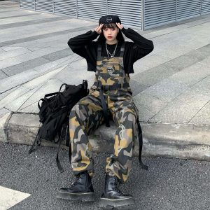 Сamouflage Khaki Jumpsuit With Buckles (1) - My Sweet Outfit - EGirl Outfits - Soft Girl Clothes Aesthetic - Grunge Korean Fashion Tumblr Hip Emo Rap