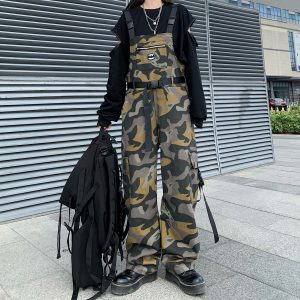 Сamouflage Khaki Jumpsuit With Buckles (4) - My Sweet Outfit - EGirl Outfits - Soft Girl Clothes Aesthetic - Grunge Korean Fashion Tumblr Hip Emo Rap