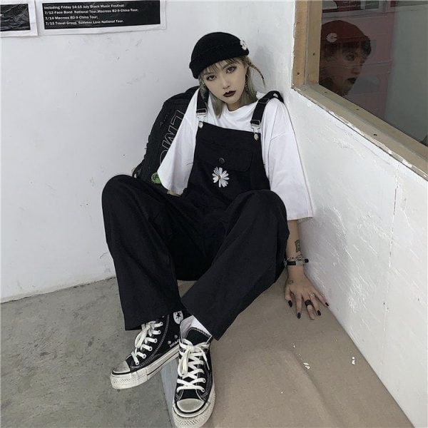 Сhest Flower Embroidery Wide Jumpsuit (3) - My Sweet Outfit - EGirl Outfits - Soft Girl Clothes Aesthetic - Grunge Korean Fashion Tumblr Hip Emo Rap