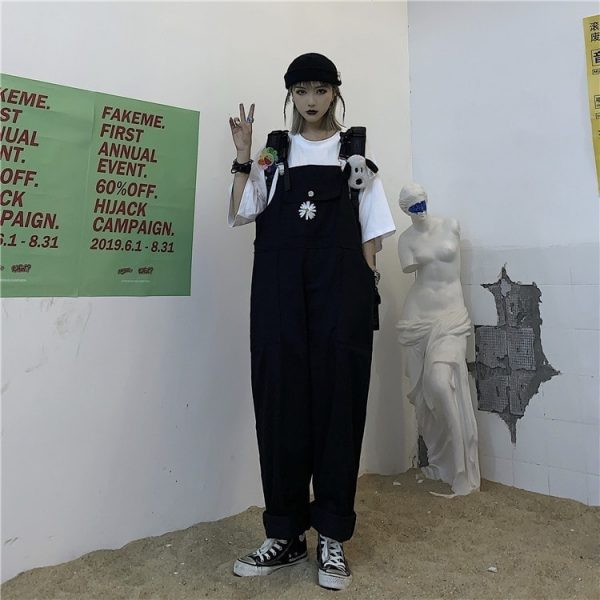 Сhest Flower Embroidery Wide Jumpsuit (4) - My Sweet Outfit - EGirl Outfits - Soft Girl Clothes Aesthetic - Grunge Korean Fashion Tumblr Hip Emo Rap