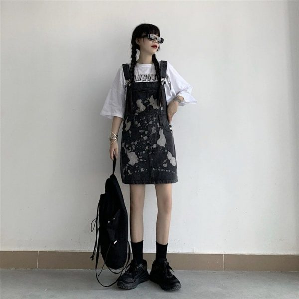 Сolor Spotted Jumpsuit With Chest Pocket 3 - My Sweet Outfit - EGirl Outfits - Soft Girl Clothes Aesthetic - Grunge Korean Fashion Tumblr Hip Emo Rap