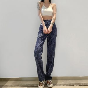 All Match Autumn Slim Pattern Jeans 2 - My Sweet Outfit - EGirl Outfits - Soft Girl Clothes Aesthetic - Grunge Korean Fashion Tumblr Hip Emo Rap