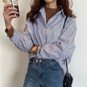 BF Mid Length Striped Chest Pocket Shirt 2 - My Sweet Outfit - EGirl Outfits - Soft Girl Clothes Aesthetic - Grunge Korean Fashion Tumblr Hip Emo Rap