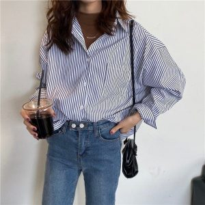 BF Mid Length Striped Chest Pocket Shirt 3 - My Sweet Outfit - EGirl Outfits - Soft Girl Clothes Aesthetic - Grunge Korean Fashion Tumblr Hip Emo Rap