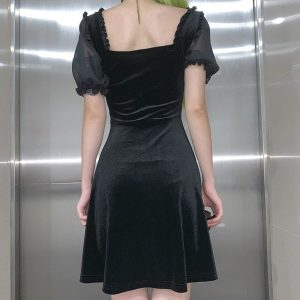 Back Straps A-line Dark Dress (1) - My Sweet Outfit - EGirl Outfits - Soft Girl Clothes Aesthetic - Grunge Korean Fashion Tumblr Hip Emo Rap