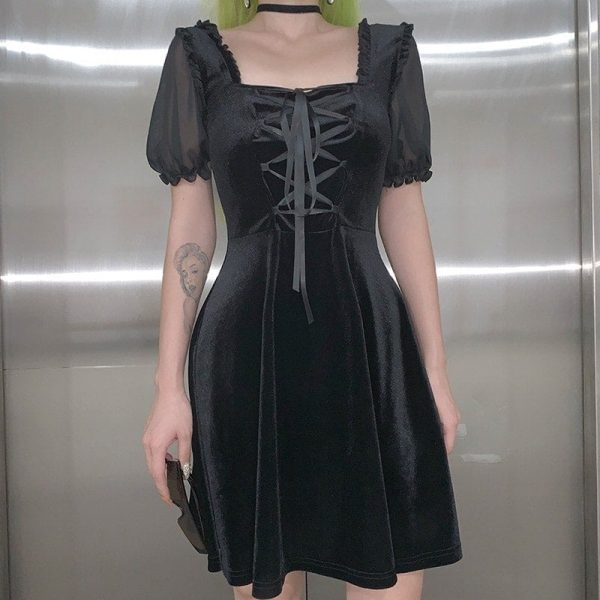 Back Straps A-line Dark Dress (2) - My Sweet Outfit - EGirl Outfits - Soft Girl Clothes Aesthetic - Grunge Korean Fashion Tumblr Hip Emo Rap