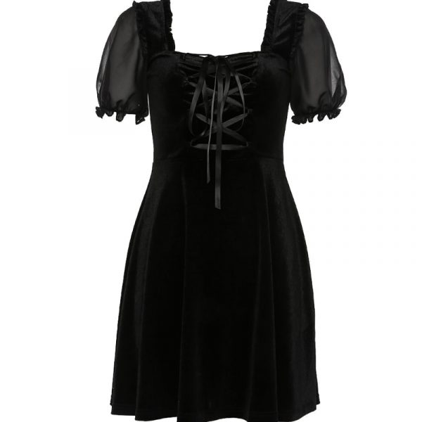 Back Straps A-line Dark Dress (5) - My Sweet Outfit - EGirl Outfits - Soft Girl Clothes Aesthetic - Grunge Korean Fashion Tumblr Hip Emo Rap
