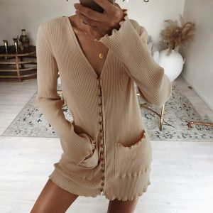 Bag Hip And Pockets Cardigan Knit Dress (2) - My Sweet Outfit - EGirl Outfits - Soft Girl Clothes Aesthetic - Grunge Korean Fashion Tumblr Hip Emo Rap
