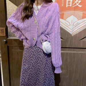 Big Buttons Purple Soft Knit Cardigan 1 - My Sweet Outfit - EGirl Outfits - Soft Girl Clothes Aesthetic - Grunge Korean Fashion Tumblr Hip Emo Rap