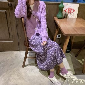 Big Buttons Purple Soft Knit Cardigan 2 - My Sweet Outfit - EGirl Outfits - Soft Girl Clothes Aesthetic - Grunge Korean Fashion Tumblr Hip Emo Rap