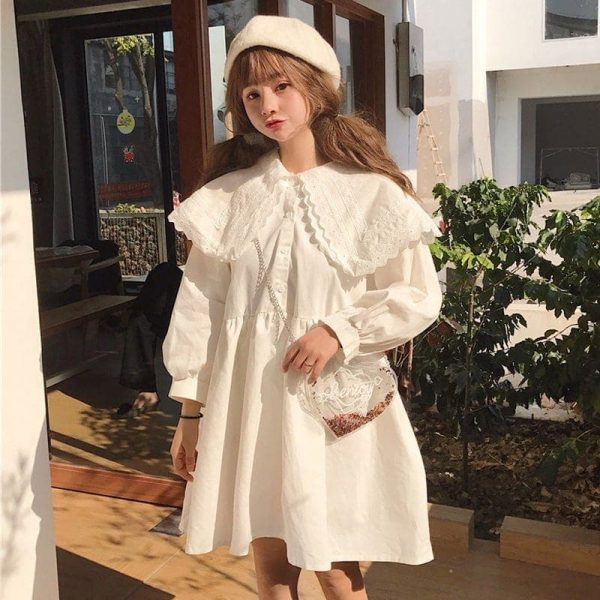 Big Collar Short Wide Soft Doll Dress (1) - My Sweet Outfit - EGirl Outfits - Soft Girl Clothes Aesthetic - Grunge Korean Fashion Tumblr Hip Emo Rap