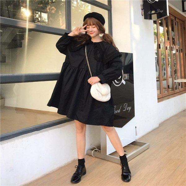 Big Collar Short Wide Soft Doll Dress (2) - My Sweet Outfit - EGirl Outfits - Soft Girl Clothes Aesthetic - Grunge Korean Fashion Tumblr Hip Emo Rap