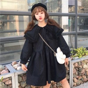 Big Collar Short Wide Soft Doll Dress (3) - My Sweet Outfit - EGirl Outfits - Soft Girl Clothes Aesthetic - Grunge Korean Fashion Tumblr Hip Emo Rap