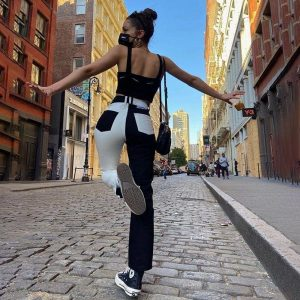Black And White Contrast Thin Elastic Pants 1 - My Sweet Outfit - EGirl Outfits - Soft Girl Clothes Aesthetic - Grunge Korean Fashion Tumblr Hip Emo Rap