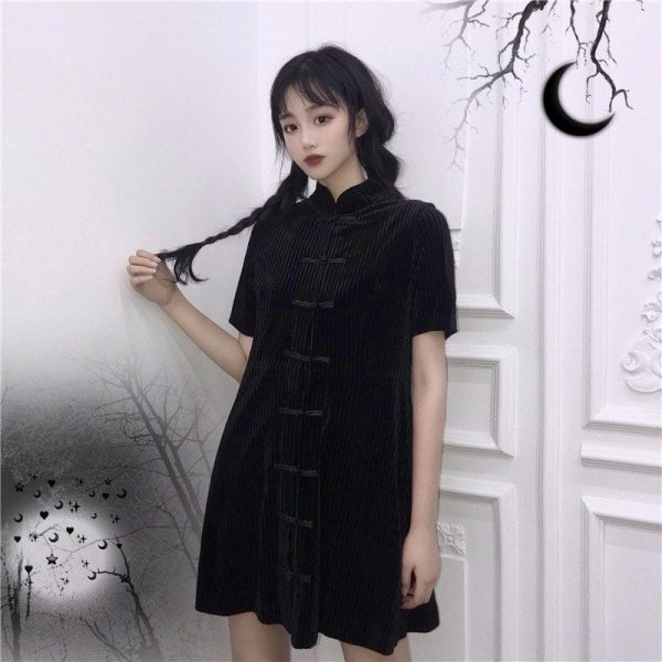 Black Asian Style Corduroy Dress (1) - My Sweet Outfit - EGirl Outfits - Soft Girl Clothes Aesthetic - Grunge Korean Fashion Tumblr Hip Emo Rap