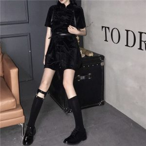 Black Asian Style Corduroy Dress (4) - My Sweet Outfit - EGirl Outfits - Soft Girl Clothes Aesthetic - Grunge Korean Fashion Tumblr Hip Emo Rap