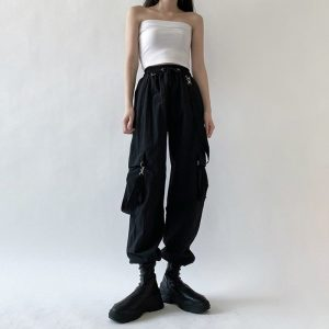 Black High Waist Pockets Rompers 1 - My Sweet Outfit - EGirl Outfits - Soft Girl Clothes Aesthetic - Grunge Korean Fashion Tumblr Hip Emo Rap