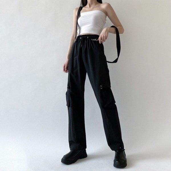 Black High Waist Pockets Rompers 3 - My Sweet Outfit - EGirl Outfits - Soft Girl Clothes Aesthetic - Grunge Korean Fashion Tumblr Hip Emo Rap