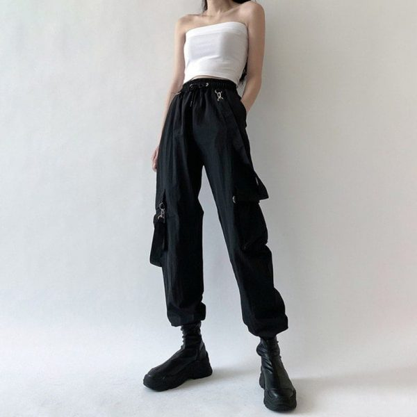 Black High Waist Pockets Rompers 4 - My Sweet Outfit - EGirl Outfits - Soft Girl Clothes Aesthetic - Grunge Korean Fashion Tumblr Hip Emo Rap