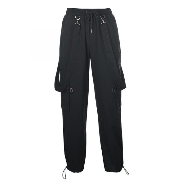 Black High Waist Pockets Rompers 5 - My Sweet Outfit - EGirl Outfits - Soft Girl Clothes Aesthetic - Grunge Korean Fashion Tumblr Hip Emo Rap
