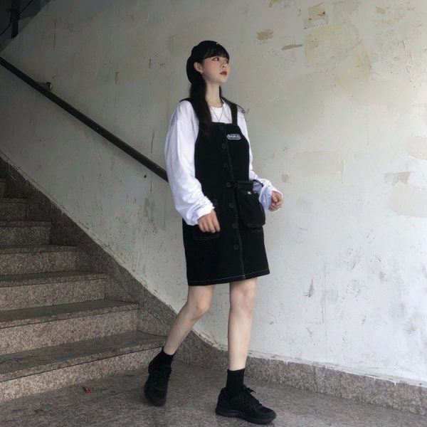 Black Strap Skirt Romper With Buttons 1 - My Sweet Outfit - EGirl Outfits - Soft Girl Clothes Aesthetic - Grunge Korean Fashion Tumblr Hip Emo Rap