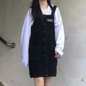 Black Strap Skirt Romper With Buttons (2) - My Sweet Outfit - EGirl Outfits - Soft Girl Clothes Aesthetic - Grunge Korean Fashion Tumblr Hip Emo Rap
