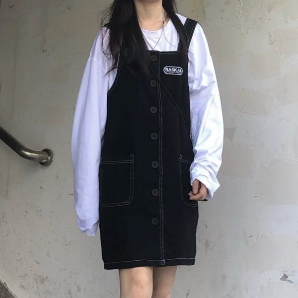 Black Strap Skirt Romper With Buttons 2 - My Sweet Outfit - EGirl Outfits - Soft Girl Clothes Aesthetic - Grunge Korean Fashion Tumblr Hip Emo Rap