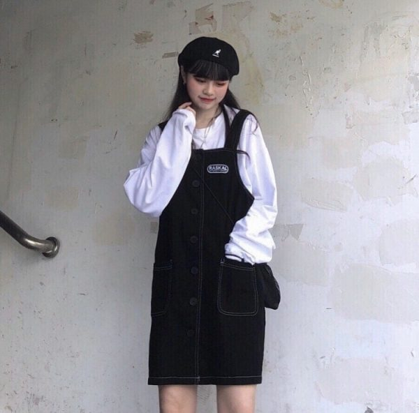 Black Strap Skirt Romper With Buttons 3 - My Sweet Outfit - EGirl Outfits - Soft Girl Clothes Aesthetic - Grunge Korean Fashion Tumblr Hip Emo Rap